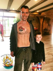 A first-time guest at Pirates Village who got the hotel's logo tattooed in Santa Ponsa